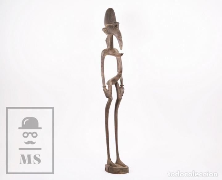 TALLA / ESCULTURA TRIBAL AFRICANA DE MADERA - MUJER EMBARAZADA - MEDIDAS 10 X 8,5 X 60 CM (Arte - Étnico - África)