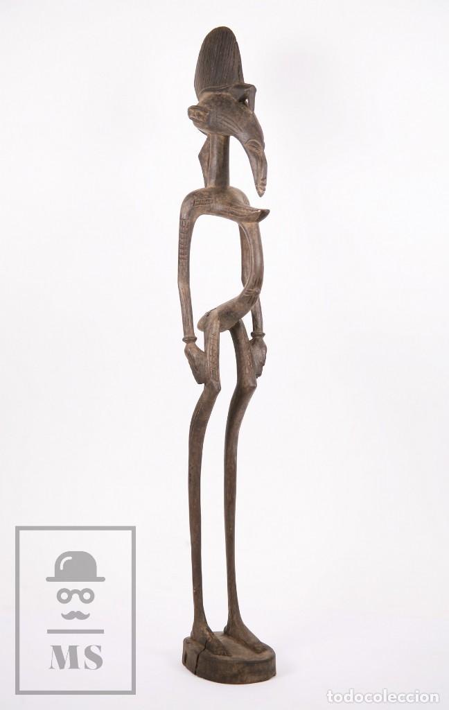 Arte: Talla / Escultura Tribal Africana de Madera - Mujer Embarazada - Medidas 10 x 8,5 x 60 cm - Foto 2 - 194394376