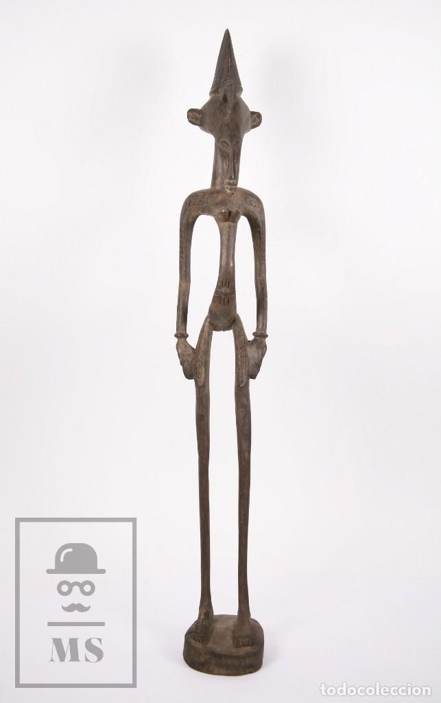 Arte: Talla / Escultura Tribal Africana de Madera - Mujer Embarazada - Medidas 10 x 8,5 x 60 cm - Foto 3 - 194394376