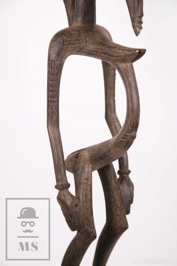 Arte: Talla / Escultura Tribal Africana de Madera - Mujer Embarazada - Medidas 10 x 8,5 x 60 cm - Foto 6 - 194394376
