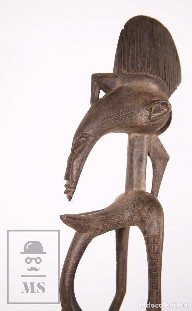 Arte: Talla / Escultura Tribal Africana de Madera - Mujer Embarazada - Medidas 10 x 8,5 x 60 cm - Foto 8 - 194394376