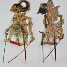 Arte: PAREJA DE MARIONETAS SOMBRAS CHINAS PROCEDENTES DE INDONESIA.WAYANG KULIT.FINALES S.XIX.. Lote 194406303