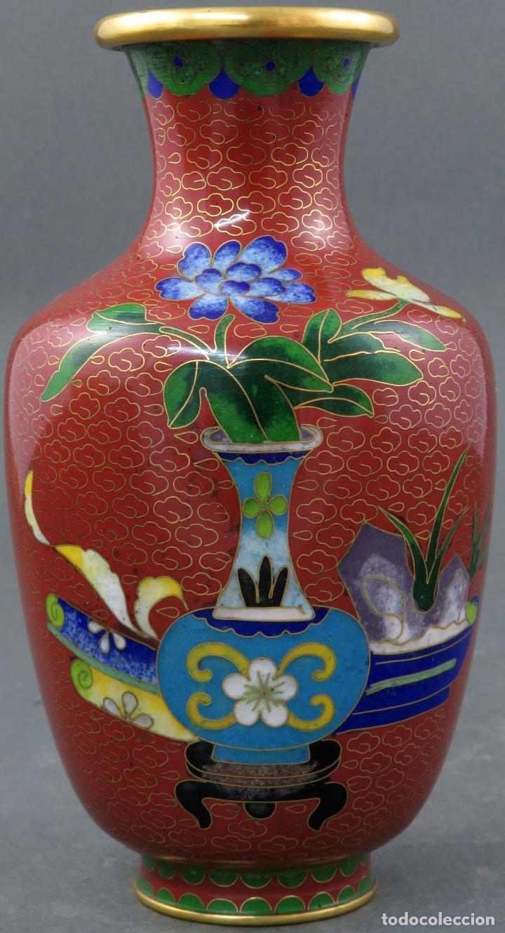 Arte: Pareja de jarrones violeteros en esmalte cloisonne China siglo XX - Foto 5 - 194599941