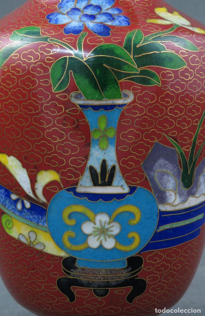 Arte: Pareja de jarrones violeteros en esmalte cloisonne China siglo XX - Foto 6 - 194599941
