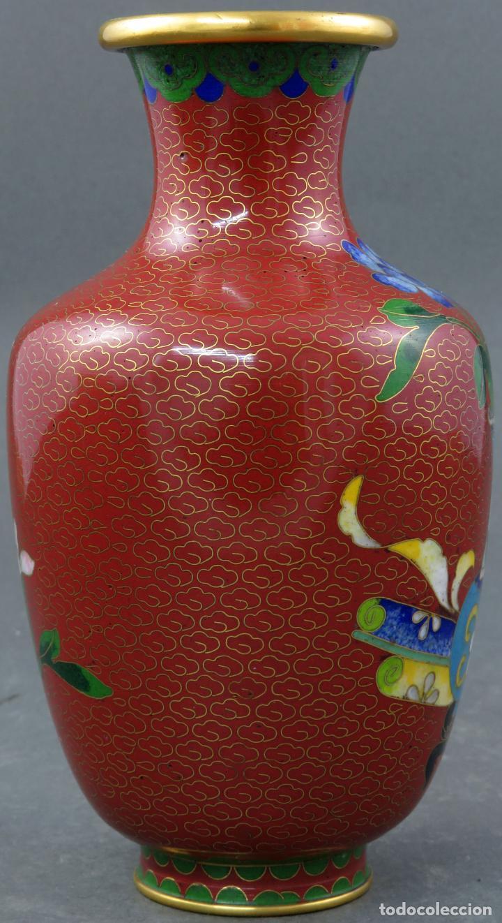 Arte: Pareja de jarrones violeteros en esmalte cloisonne China siglo XX - Foto 7 - 194599941