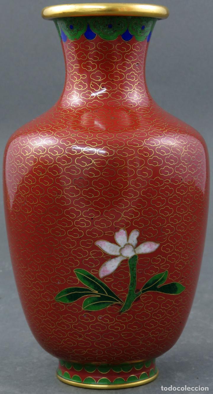 Arte: Pareja de jarrones violeteros en esmalte cloisonne China siglo XX - Foto 8 - 194599941