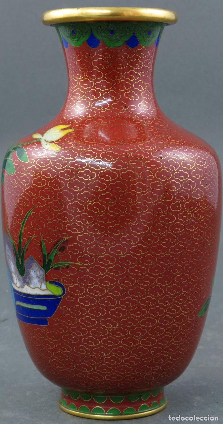 Arte: Pareja de jarrones violeteros en esmalte cloisonne China siglo XX - Foto 9 - 194599941
