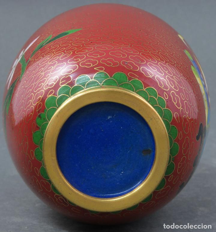 Arte: Pareja de jarrones violeteros en esmalte cloisonne China siglo XX - Foto 11 - 194599941