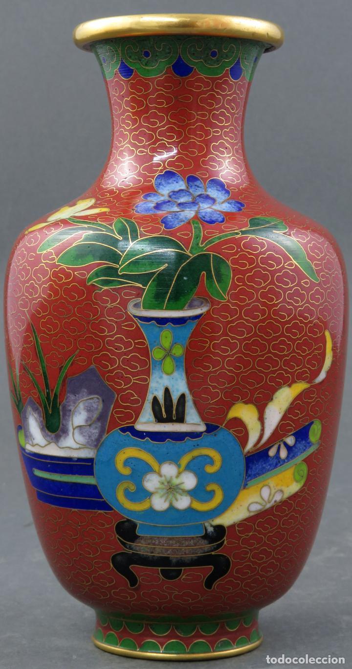 Arte: Pareja de jarrones violeteros en esmalte cloisonne China siglo XX - Foto 12 - 194599941
