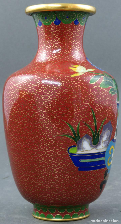 Arte: Pareja de jarrones violeteros en esmalte cloisonne China siglo XX - Foto 14 - 194599941