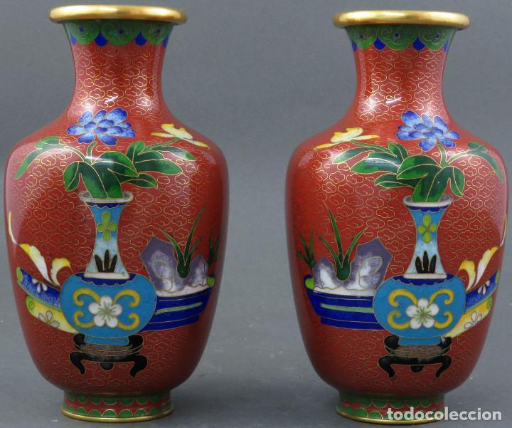 PAREJA DE JARRONES VIOLETEROS EN ESMALTE CLOISONNE CHINA SIGLO XX (Arte - Étnico - Asia)