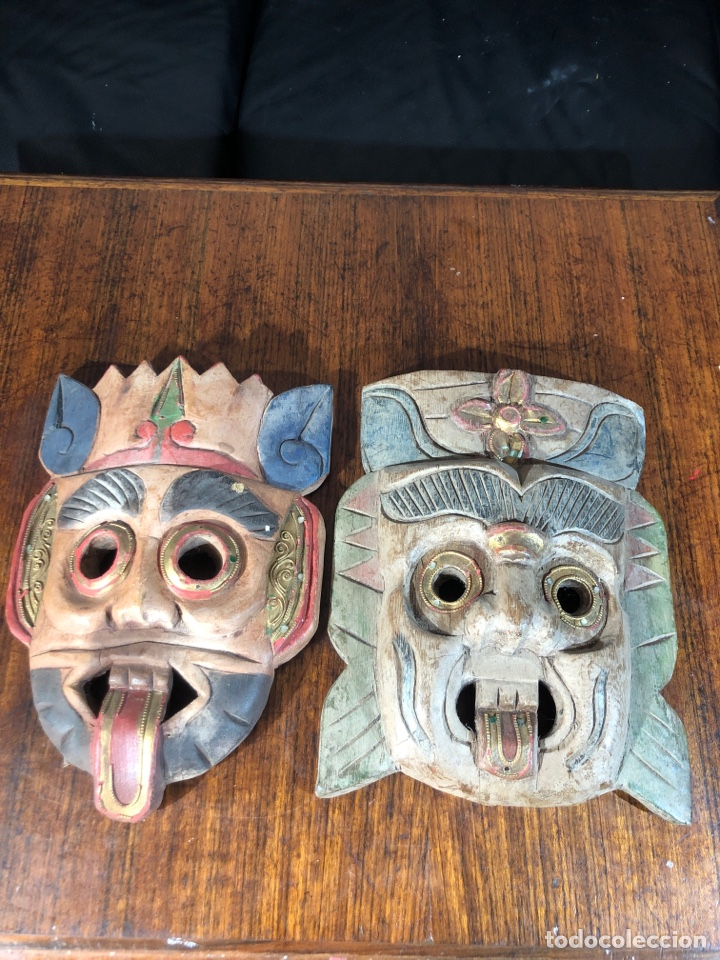MASCARAS MADERAS PERSONAJES METICOS ASIA MALASIA (Arte - Étnico - Asia)