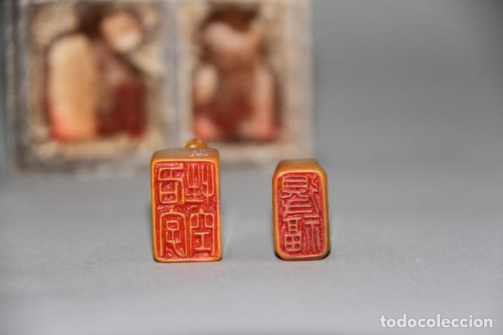 Arte: Rara pareja de pequeños sellos de la dinastia Qing.Siglos XVIII/XIX, en Shoushan tianhuang. - Foto 3 - 194697205