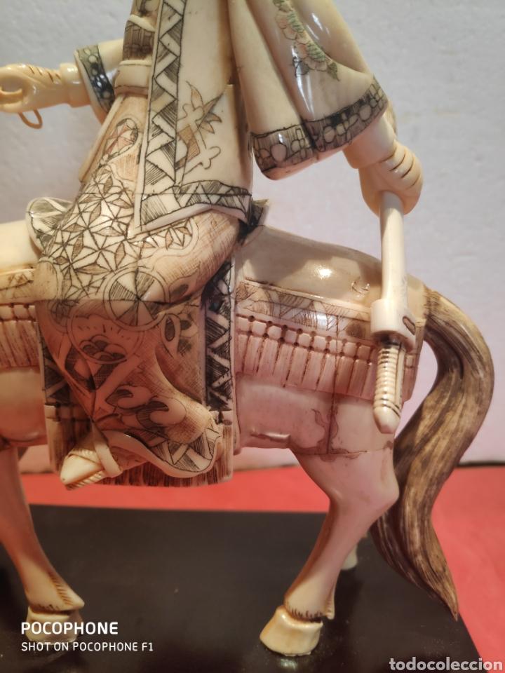 Arte: Figura Samurái a caballo realizada en hueso - Foto 5 - 195006558