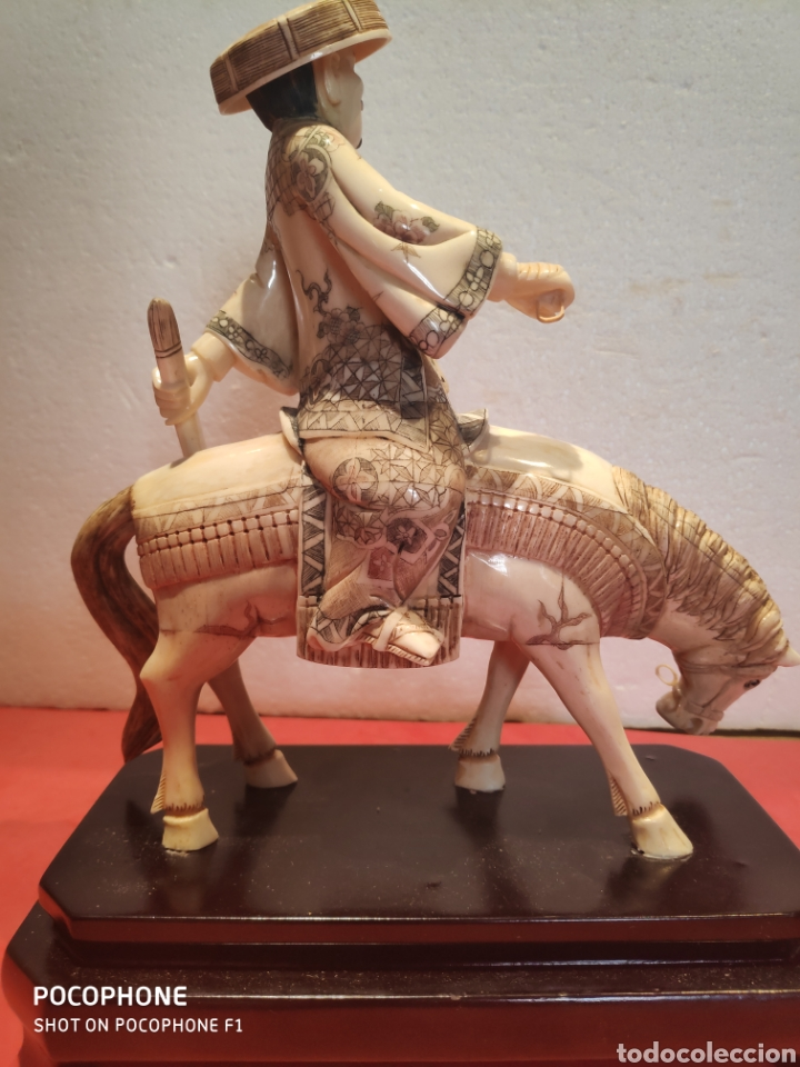 Arte: Figura Samurái a caballo realizada en hueso - Foto 6 - 195006558