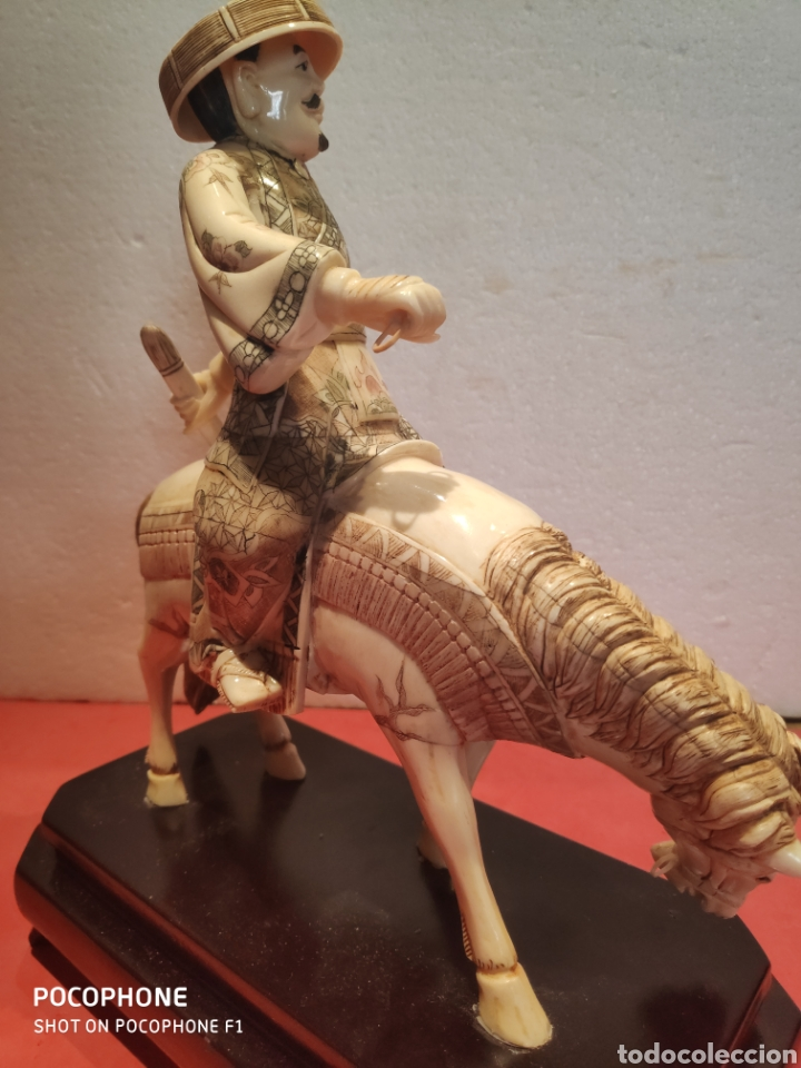 Arte: Figura Samurái a caballo realizada en hueso - Foto 8 - 195006558