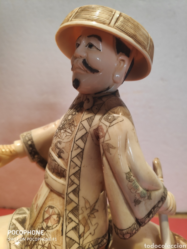 Arte: Figura Samurái a caballo realizada en hueso - Foto 10 - 195006558