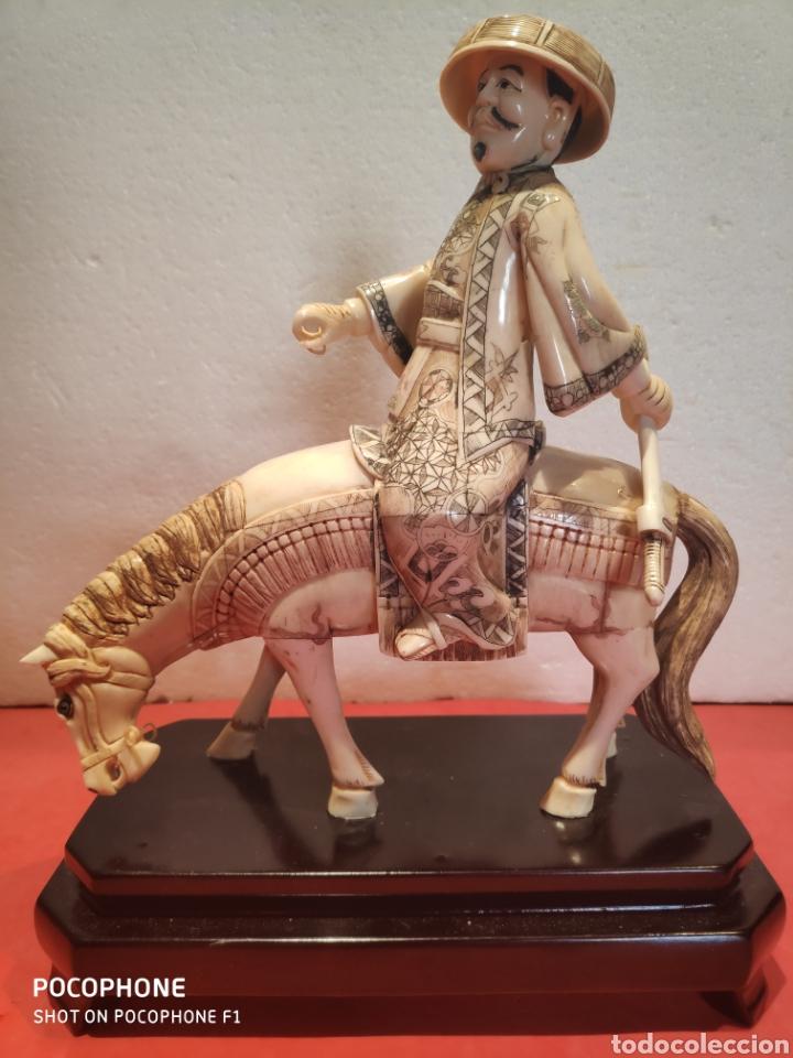 FIGURA SAMURÁI A CABALLO REALIZADA EN HUESO (Arte - Étnico - Asia)