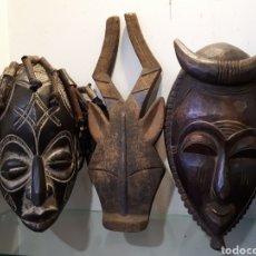 Arte: LOTE 3 MÁSCARAS AFRICANAS. Lote 195009935