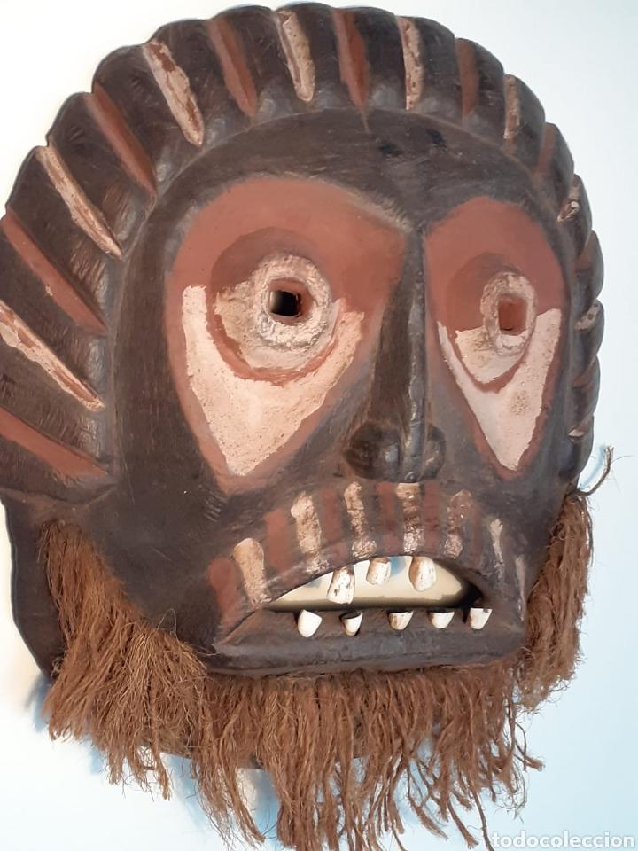 Arte: MÁSCARA TRIBAL - MADERA, DIENTES ANIMAL Y CÁÑAMO - TRIBU ÁFRICA - ETNOGRAFÍA - AÑOS 50 - Foto 2 - 195043776
