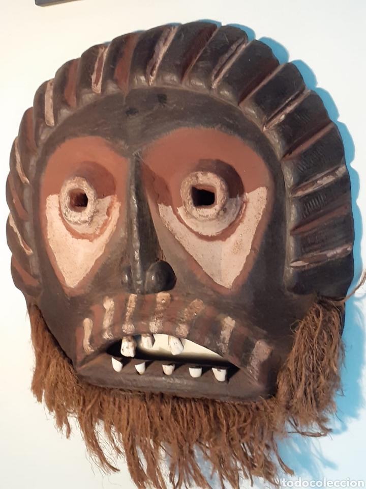 Arte: MÁSCARA TRIBAL - MADERA, DIENTES ANIMAL Y CÁÑAMO - TRIBU ÁFRICA - ETNOGRAFÍA - AÑOS 50 - Foto 4 - 195043776