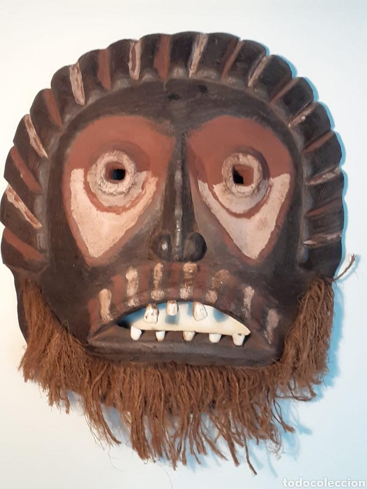 MÁSCARA TRIBAL - MADERA, DIENTES ANIMAL Y CÁÑAMO - TRIBU ÁFRICA - ETNOGRAFÍA - AÑOS 50 (Arte - Étnico - África)