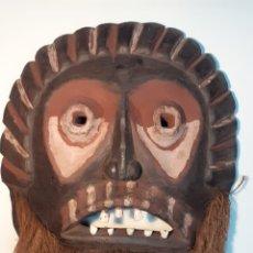 Arte: MÁSCARA TRIBAL - MADERA, DIENTES ANIMAL Y CÁÑAMO - TRIBU ÁFRICA - ETNOGRAFÍA - AÑOS 50. Lote 195043776
