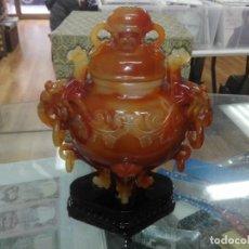 Arte: ESPECTACULAR TIBOR TALLADO EN AGATA EN UNA SOLA PIEZA PROCEDENTE DE CHINA. Lote 195181725
