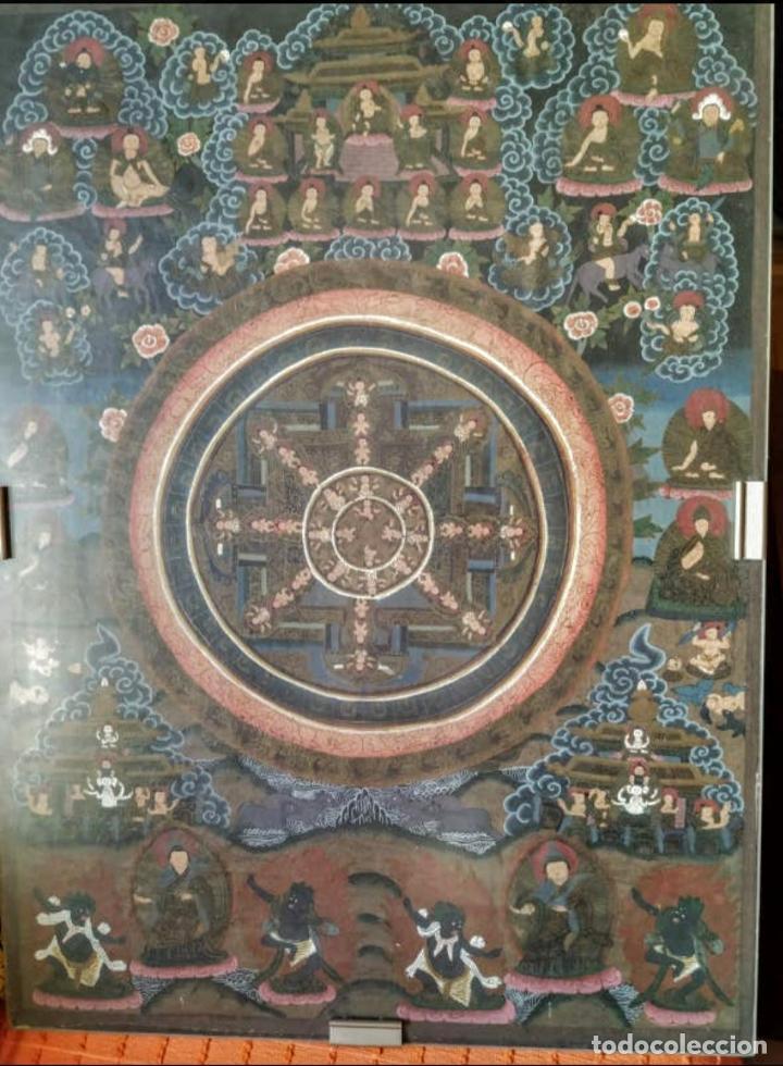 MANDALA ANTIGUA, TÍBET, ÓLEO EN TELA , PINTADO A MANO (Arte - Étnico - Asia)