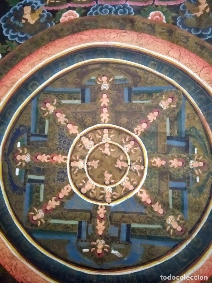 Arte: Rebajas!!!Mandala antigua, Tíbet, óleo en tela , pintado a mano - Foto 2 - 195192647