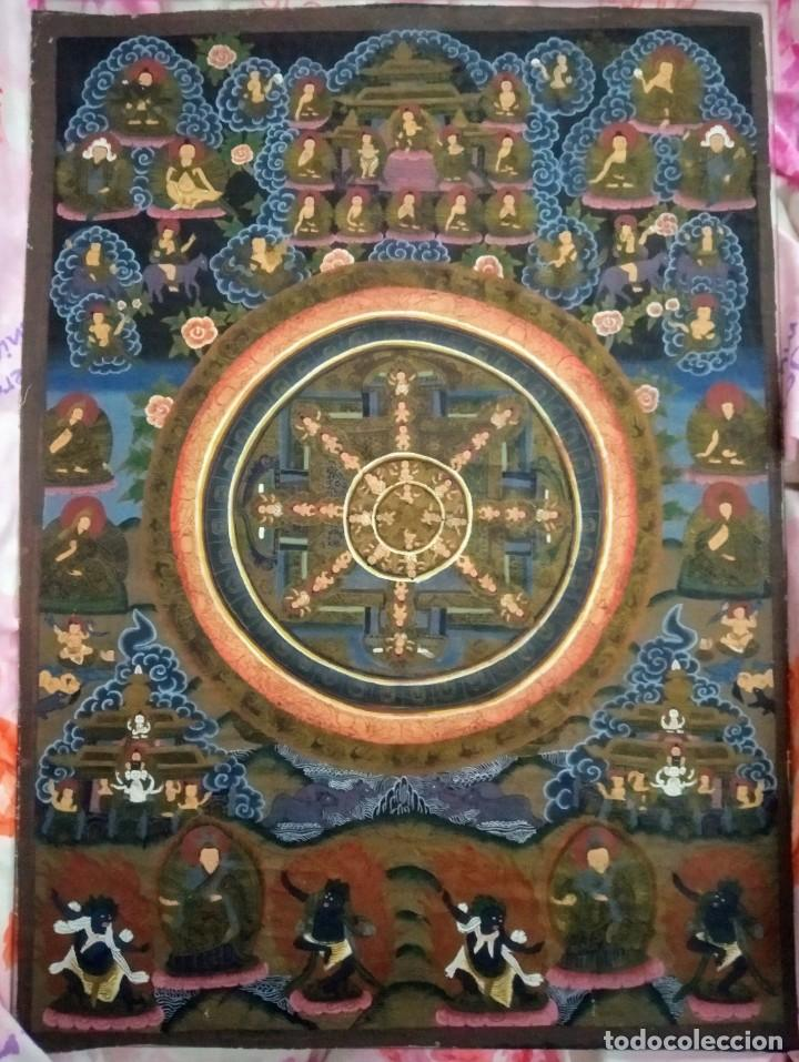 Arte: Mandala antigua, Tíbet, óleo en tela , pintado a mano - Foto 3 - 195192647