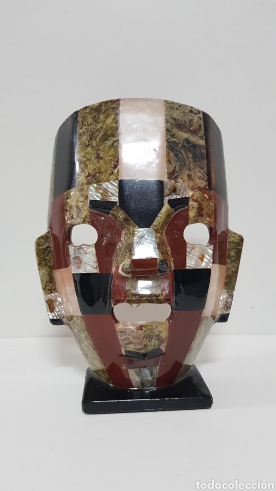 MÁSCARA ARTESANÍA CON MINERALES Y NACAR DE MÉXICO (Arte - Étnico - América)
