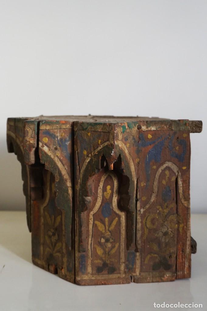 Arte: Pieza antigua madera marquetería. Marruecos - Foto 2 - 195272690