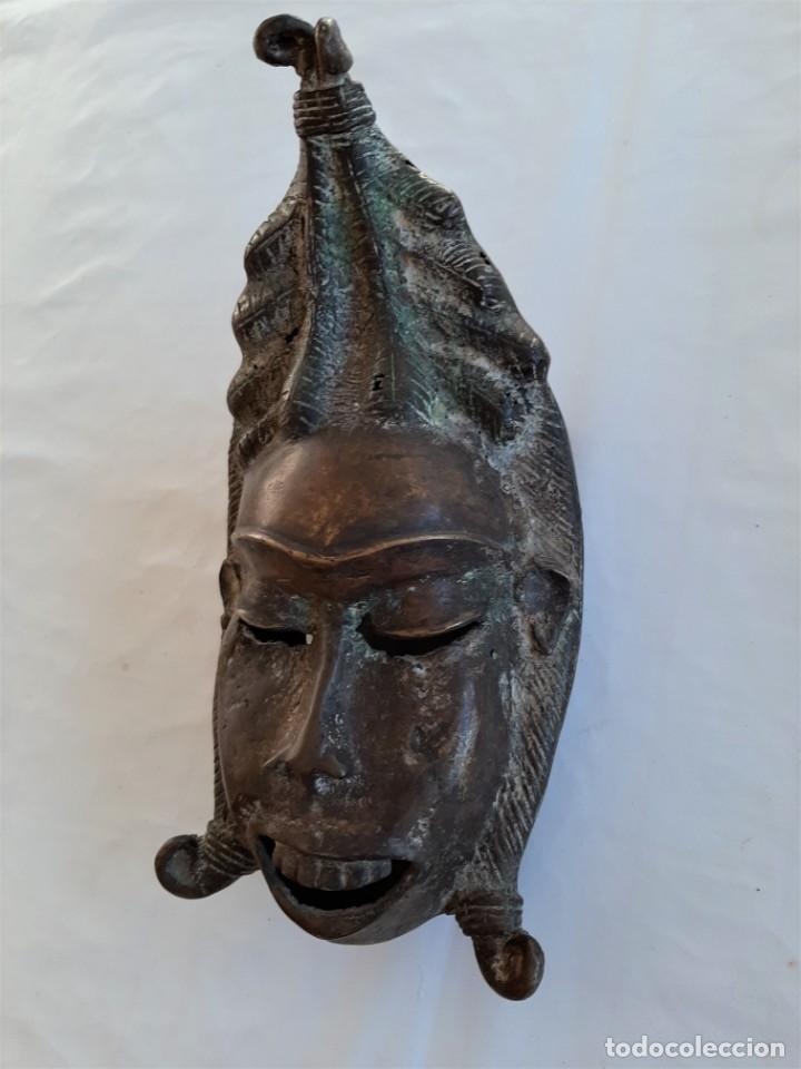 Arte: R 2312 MAGNIFICA ANTIGUA MASCARA BRONCE TRIBU TIKAR - CAMERÚN AFRICA - Foto 2 - 195788437