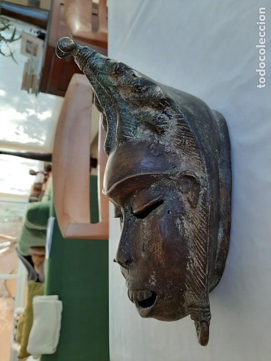 R 2312 MAGNIFICA ANTIGUA MASCARA BRONCE TRIBU TIKAR - CAMERÚN AFRICA (Arte - Étnico - África)