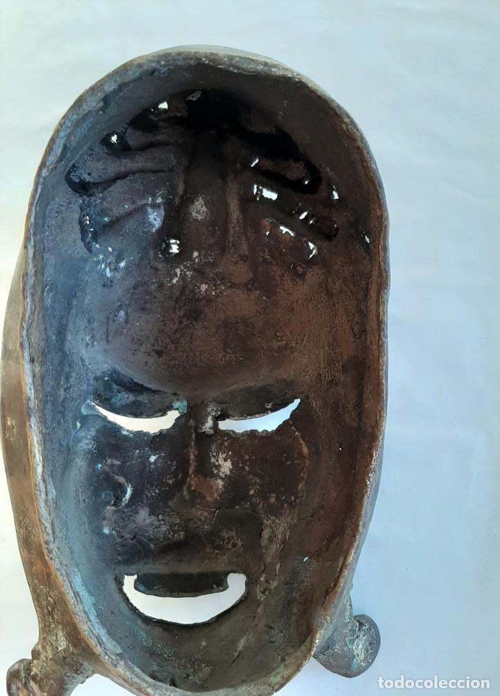 Arte: R 2312 MAGNIFICA ANTIGUA MASCARA BRONCE TRIBU TIKAR - CAMERÚN AFRICA - Foto 4 - 195788437
