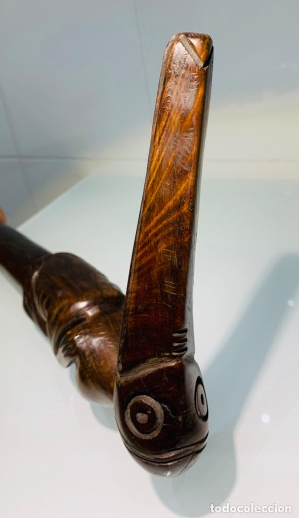 Arte: Madera Genuina Caoba maciza. Bastón de mando cabeza y mango labrado Cultura Taína. Caribe. - Foto 6 - 288316718