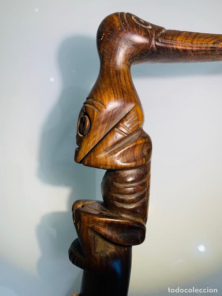 Arte: Madera Genuina Caoba maciza. Bastón de mando cabeza y mango labrado Cultura Taína. Caribe. - Foto 12 - 288316718