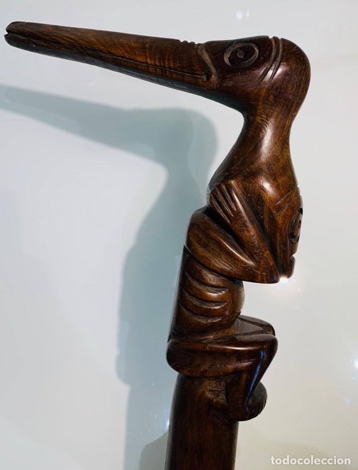 Arte: Madera Genuina Caoba maciza. Bastón de mando cabeza y mango labrado Cultura Taína. Caribe. - Foto 14 - 288316718