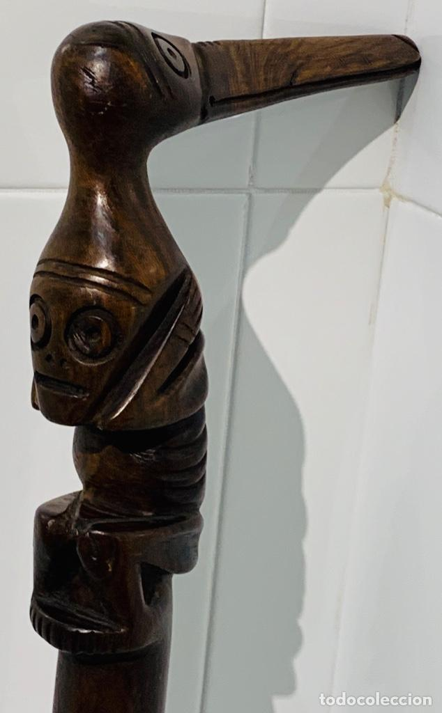Arte: Madera Genuina Caoba maciza. Bastón de mando cabeza y mango labrado Cultura Taína. Caribe. - Foto 34 - 288316718