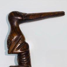 Arte: MADERA GENUINA CAOBA MACIZA. BASTÓN DE MANDO CABEZA Y MANGO LABRADO CULTURA TAÍNA. CARIBE.. Lote 214688733