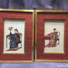 Arte: PAREJA RETRATOS GOUACHE DIGNATARIOS CHINOS ESCRIBANO Y MUJER S XVIII QUIENLONG CALIDAD CANTON 36X27C. Lote 196963022