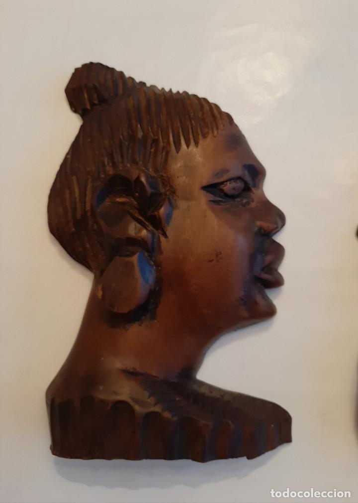 Arte: R 1824 ANTIGUA PAREJA DE CARAS DE MADERA AFRICANA TALLADA A MANO PARA COLGAR - Foto 2 - 197591046