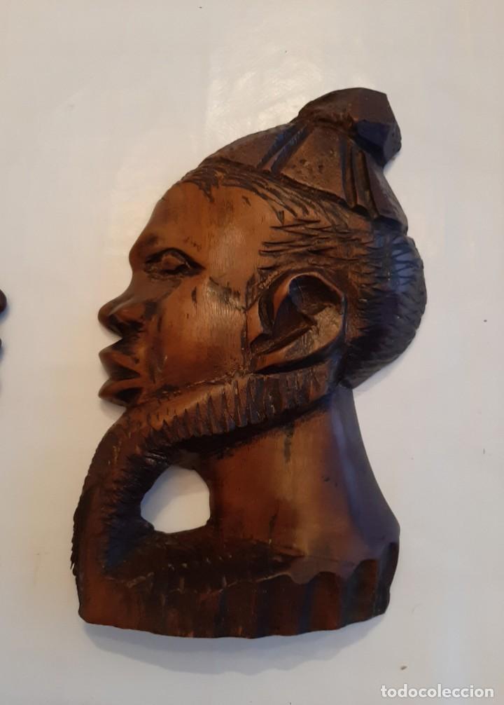 Arte: R 1824 ANTIGUA PAREJA DE CARAS DE MADERA AFRICANA TALLADA A MANO PARA COLGAR - Foto 3 - 197591046