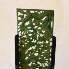Arte: PLACA DE JADE - DRAGONES - CON PEANA - CHINA - PRECIOSA.. Lote 197762923