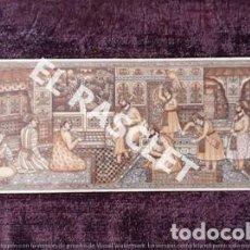 Arte: ANTIGÜA MINIATURA INDIA EN HUESO POLICROMADO Y EN BASE DE TERCIOPELO MARRÓN. Lote 198145371