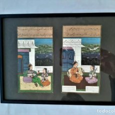 Arte: R 1826 ANTIGUO CUADRO LAMINA PINTADA A MANO PERTENECE A MANUSCRITO DE INDIA, ENMARCADO CON CRISTAL. Lote 198253445