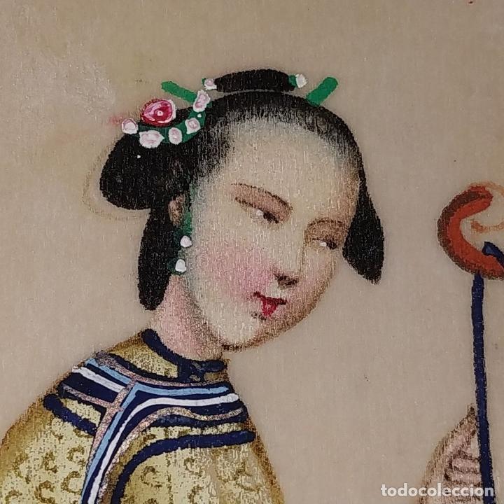 Arte: DAMA IMPERIAL. PINTURA CHINA SOBRE PAPEL ARROZ. APLICACIÓN DE TROQUELADOS. CHINA.XIX - Foto 3 - 244485025