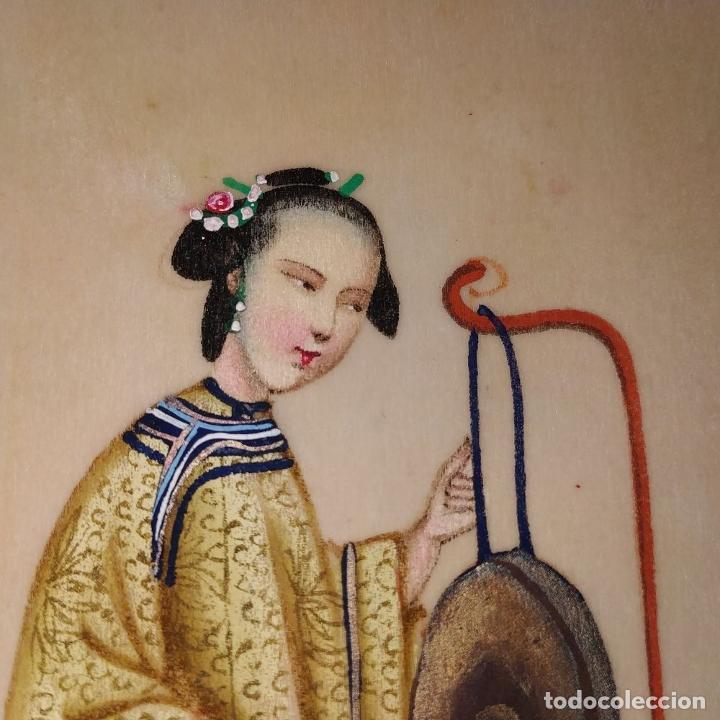 Arte: DAMA IMPERIAL. PINTURA CHINA SOBRE PAPEL ARROZ. APLICACIÓN DE TROQUELADOS. CHINA.XIX - Foto 5 - 244485025