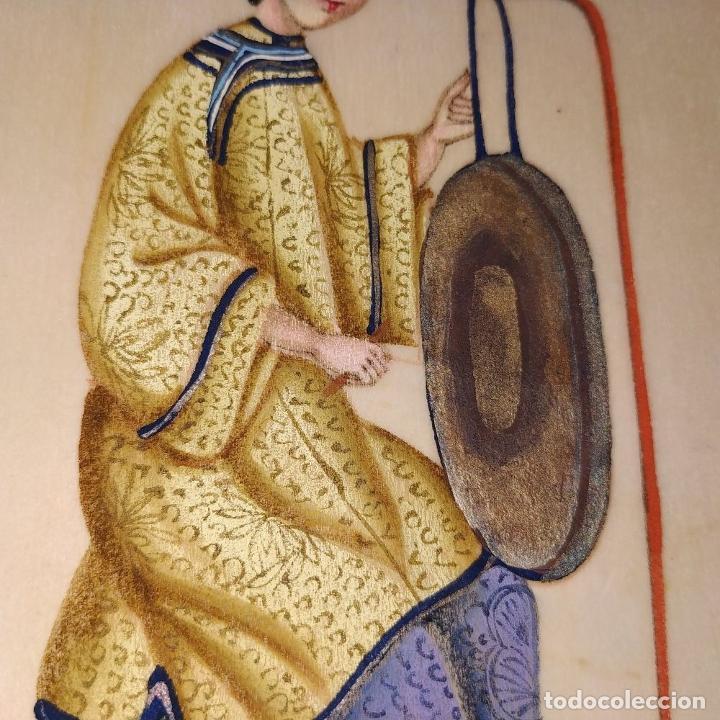 Arte: DAMA IMPERIAL. PINTURA CHINA SOBRE PAPEL ARROZ. APLICACIÓN DE TROQUELADOS. CHINA.XIX - Foto 7 - 244485025